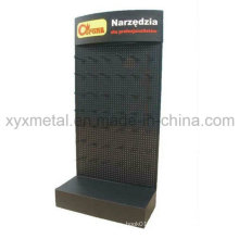 Logo personnalisé Metal Pegboard Floor Shelf Stand Exhibition Exhibition Display Rack