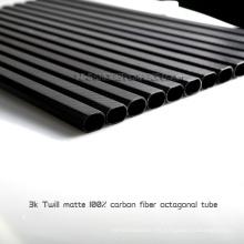 Tubos de fibra de carbono mate de sarga real 3K para drones personalizados, agujero de taladro de soporte en tubo de fibra de carbono