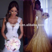 2016 Custom Made Sexy With Cap Sleeves Stain With Lace Pearls Beads Mermaid Alibaba Wedding Dress