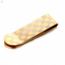 Heißer verkaufender Goldgitter-Edelstahlgeldclip
