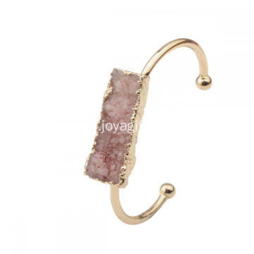 Fashion Natural Real Colorful Drusy Crystal Cluster Charms Bracelets Plated Gold Copper Bangle Plain for women Girls Jewelry