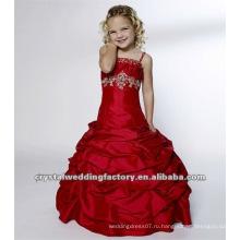 2012 горячий красный вышитый бисером аппликация оборками бальное платье на заказ театрализованное платье девушки цветка платья CWFaf4135