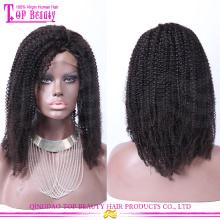 Alta densidade 7A cabelo humano curly perucas 100% mongol afro kinky curly peruca cheia do laço