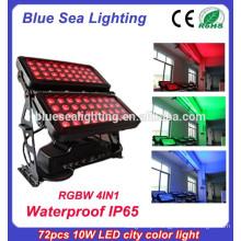 Profissional IP65 72pcs 10w rgbw 4 em 1 luzes led ao ar livre arruela de parede