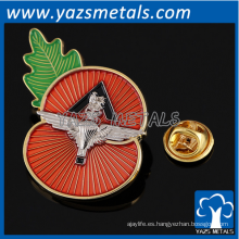 insignias personalizadas de la solapa de la solapa insignias de la amapola