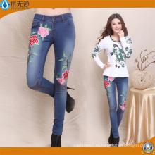 2017 pantalones vaqueros del dril de algodón del OEM de la fábrica de los pantalones del bordado de las mujeres de la moda