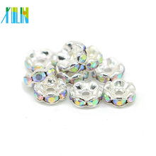 Melhor Venda IA0205 Nickel Black Plating Metal Cristal AB Rhinestone Rondelle Spacer Beads