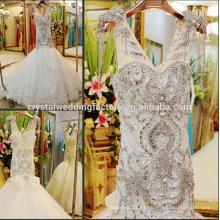 Nuevo vestido de boda bling CWF1817 de la sirena barata pesada rebordeada del V-neckline de la llegada