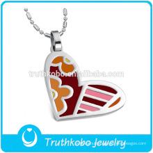 TKB-JP0167 2015 fashion enamel heart shaped women's jewelry stainless steel pendant