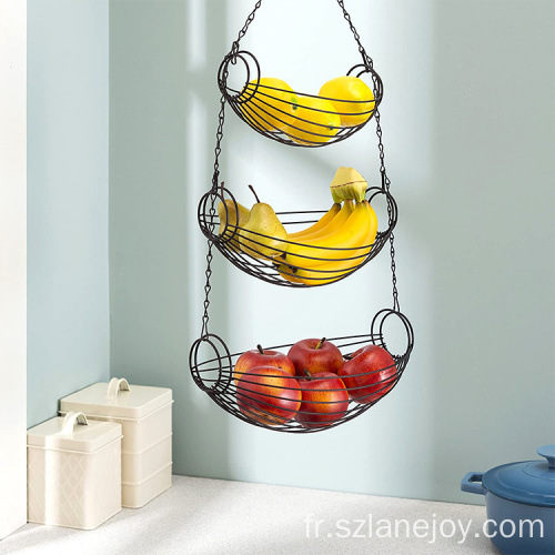 3 Tier Tabletop Black Fruit Basket Kitchen Table Counter Organizer Vegetables Storage Metal Basket