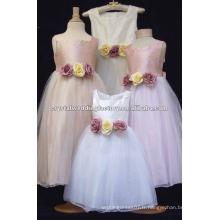 Les vraies bretelles organza satin fleurs appliqued flower girls dress CWFaf4228