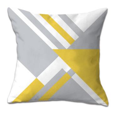 Cojín de coche de almohada de funda de almohada de patrón geométrico amarillo