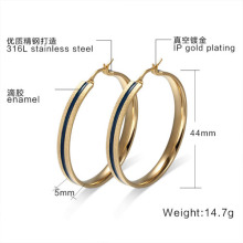 18K Gold Hoop Earrings Female Jewelry Big Stainless Steel Elegant Ear Christmas Gifts