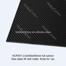 Folha da resina de cola Epoxy 3K completa / real da fibra do carbono / placa, peças do corte do CNC para FPV