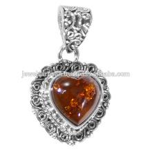 Amber Gemstone 925 Sterling Silver Pendant Jewelry