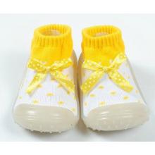 Chaussure à chaussures en caoutchouc antidérapante pour bébé petite fille bowknot
