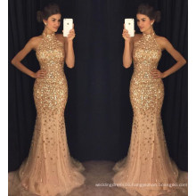 Tulle Prom Dresses High Neck Beaded Crystals Mermaid Evening Dresses