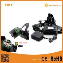 T811 Novo Xml T6 10W LED cabeça luzes lâmpada Camping & Caminhadas liga de alumínio farol