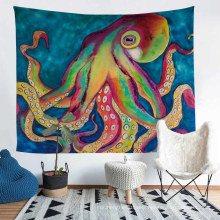 3D Printed Cartoon Octopus Pattern Tapestry, Apply to Home Decoration
