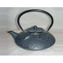 Embossed Black Hot Sale Enamel Cast Iron Teapot with Tripods
