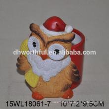 Florero de cerámica especializado del búho de la Navidad