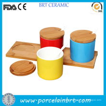 Different Colors Kitchen Condiment Pots Set with Wood Saucer