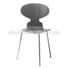 2017 Restaurante Móveis Tipo cinza cadeira de jantar de madeira com encosto e pés cromados
