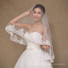 Velo de boda de una capa de marfil de diseño simple