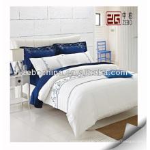 Heiße Verkauf 100% Baumwollstickerei-Firmenzeichen-weiße Hotel-Bettwäsche-Sätze