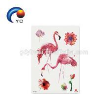 Fábrica al por mayor de animales tatuaje flamencos de color etiqueta engomada del tatuaje temporal Party Supply