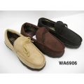 Men's Solid Suede Moccasins Shoes with Collar