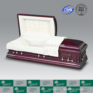 LUXES US Style High Gloss Cherry Funeral Coffin Thearts Oversize Casket
