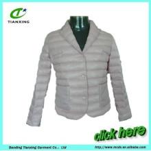 light grey turn- down collar women down jacket coat