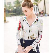 Frühling Printed Charming Pattern V-Neck Damen Shirt
