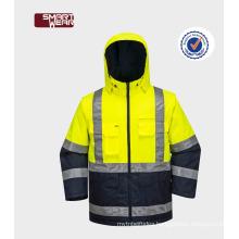 Hot selling EN20471 Hi -Vi workwear safety jacket with reflective tape