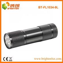 Fabrik Versorgung Promotion 9 LED Aluminium billig kleine Taschenlampe mit 3 * AAA Batterie