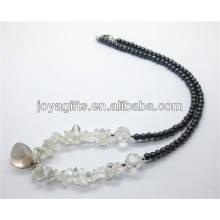 Natural cristal chip com cristal caído colar de pingente de pedra