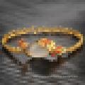 Vintage das senhoras banhado a pulseira de pavão de pedra de ágata pulseira de ouro 18k
