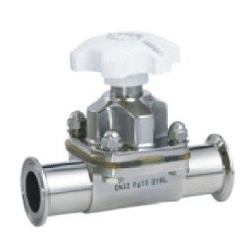 Válvula de diafragma de sujeción manual sanitaria