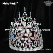 Wholesale Crystal Flower Pageant Crowns With Flamingo