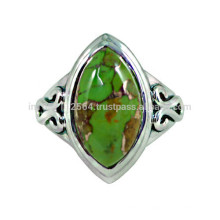 Natural Green Copper Turquoise Atraente Gemstone & 925 Sterling Silver Simples Design Anel