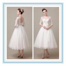 Gorgeous V-Neckline half sleeve Tulle Lace Applique Tea Length Dress wedding Beach wedding dress 2017 (YASA-2002)