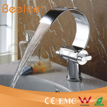 Hot Sale Solid Brass Chromed Single Handle Single Hole Basin Faucet with Waterfall Spout