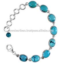 Tibetan Turquoise Gemstone 925 Sterling Silver Bracelet