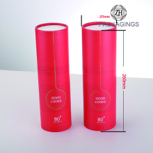 Red color round cardboard tube for gift