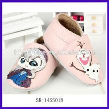 SR-14SS018 zapatos de bebé al por mayor baratos de China zapatos rosados del nuevo bebé de la manera en los zapatos a granel del niño del cuero de la historieta a granel