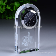 Собственный логотип высокое качество домашнего офиса украшения кристалл настольные часы