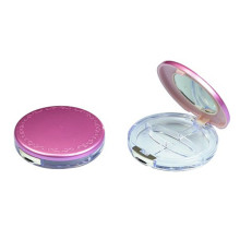 Pretty Flat Pink Compact Powder Container With Mirror