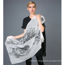 Pure Silk Flocking Printed Scarves Gold Foil Printed Scarf