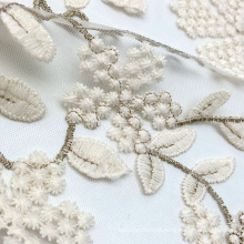 High quality gold lurex bicolour floral knitted nylon lace embroidered net mesh fabric